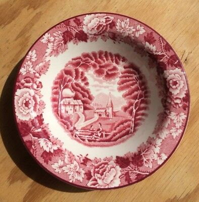 """Vintage Enoch Woods Pink Red Transfer Ware """"English Scenery"""" Berry Bowl 5 1/2"""""""