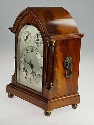 Antique W & H Flame Walnut 2 Train Ting Tang Lancet Gothic Bracket Clock
