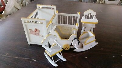 Vintage Nursery Baby Room Dollhouse Miniature Furniture Set in White and yellow.