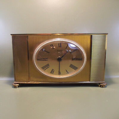 Vintage Art Deco STAIGER Mantle Quartz Clock C battery all brass case. W.GERMANY