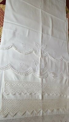 Antique Handmade Pillowcases 5 Beautiful cases crocheted and embroidered