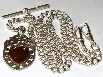 Antique Solid Sterling Silver 1905 Double Albert Pocket Watch Chain & Fob