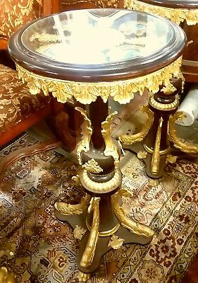 French Round Mahogany Wood Side Table With Gold Leaf Carvings - $ 1,500.00 Obo
