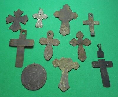 Ancient Bronze Cross Wearable Pendant Antique Rare 9 pieces #1