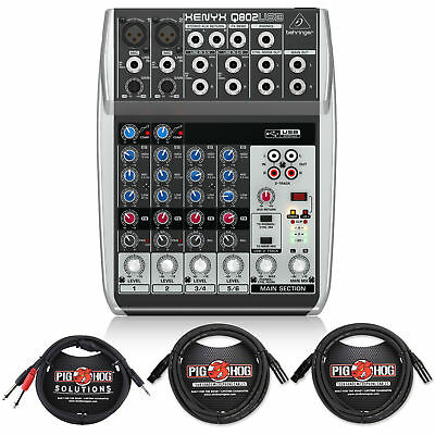 Behringer XENYX Q802USB 8-Input 2-Bus Mixer & USB/Audio Interface with Cables