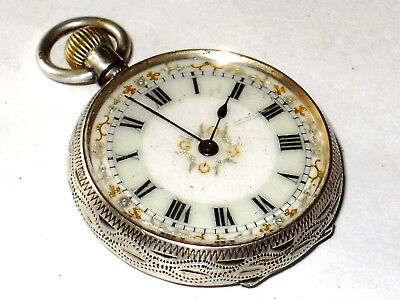 Antique 1911 Solid Sterling Silver Pocket Watch, G.stockwell Case, Needs Service