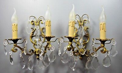 Antique Sconce French PAIR Crystal Beads Gilt Bronze Louis XV Wall Light Chateau