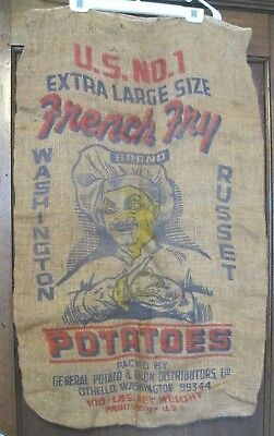 Vintage Burlap Potato Sack 100lb Russet No 1 XL French Fry Chef Graphic Wa State