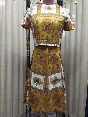 Vintage 2 Pc 1960's Gold Tone Paisley Skirt and Button Back Blouse Sz S