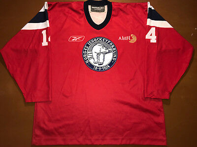 IIHF Norway Ice Hockey Game Worn Jersey Shirt Reebok Size XXL #14 Norge Ishockey