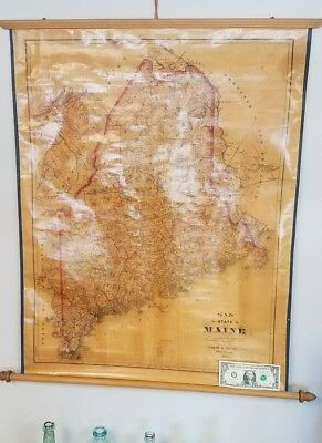 """Antique 1888-89 Colby & Stuart State of Maine, ME Wall Map. Map 27 7/8"""" x 34 3/4"""