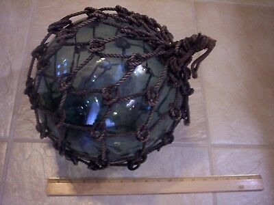 "10"" in Diameter Glass Fishing Net Float Plus Rope 34"" Cir.  Marked ' FF ' Vg"