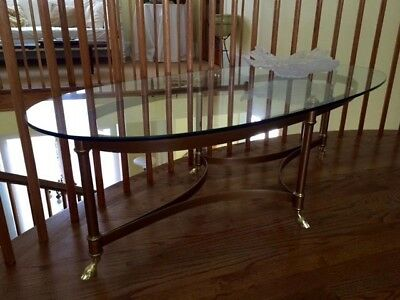 Vintage Brass And Glass Coffee Table Labarge