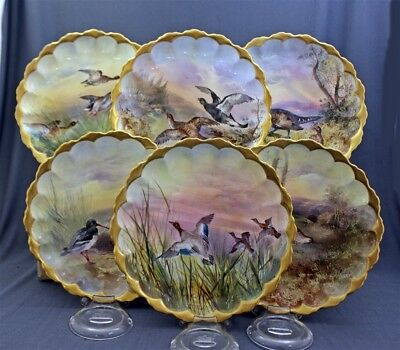 """6 Hand Painted Signed J.H. Plant c1902-20 Royal Doulton 8 3/4"""" GAME BIRD Plates"""
