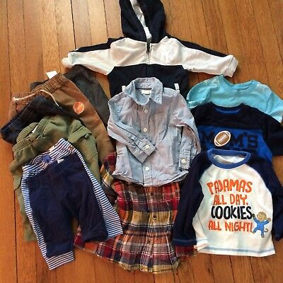 Mixed Lot 12 PIECES Baby Toddler Boy's Clothing Size 6 Months - 3T Shirts Pants