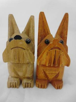 Art Deco Black Forest Bavarian Wood Carvings of two Terriers / Dogs