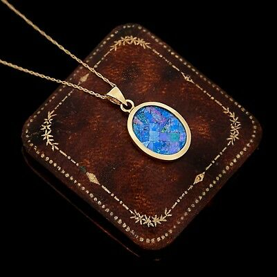Antique Vintage Deco Style 14k Gold Australian Black Fire Opal Pendant Necklace