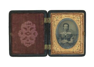 1/9 Plate Ruby Ambrotype of Beautiful Young Woman in Exquisite Gown - Full Case