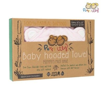 Hooded Baby Towel and Washcloth Set 100%Organic Bamboo Bath with Hood Extra Soft