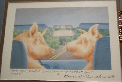 Pig Driving Car ^are Your Brakes Squealing Or Is That You?   Garrabrandt  Print