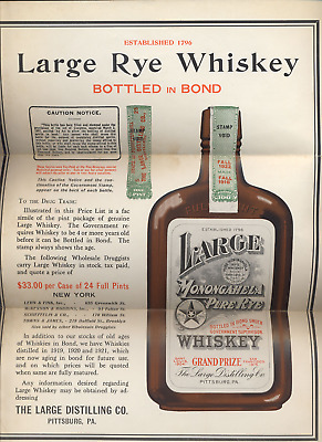 ⭐️ Vtg  Rye Whiskey Advertising To Drug Trade Pittsburg Pa Great For A Bar ⭐️
