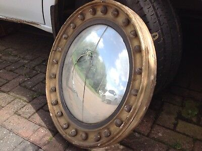 Antique Butlers Port Hole Convex Wall Mirror