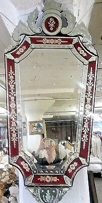 VENETIAN GLASS MIRROR ADORNED WITH ENGRAVINGS AND THE RED FRAME  - $ 600.00 obo
