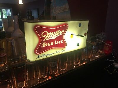 RARE 1957 Miller High Life Champagne of Bottle Beer Lighted Clock Sign - WORKS!!