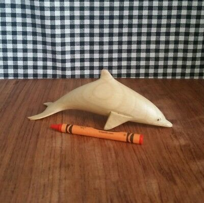 Small Dolphin Figurine, Carved Blonde Wood Sculpture, Beachy Ocean Decor, Marine
