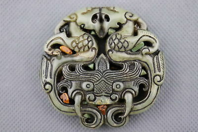 China Collectable Handwork Old Jade Carve Roar Kylin Exorcism Bring Luck Pendant