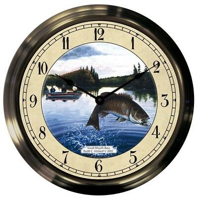 "Trintec 14"" Smallmouth Bass Antique Brass Fishing Clock AB14-07-SMB"