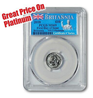 2018 1/10th oz Platinum Britannia -- PCGS MS69 (First Day of Issue)