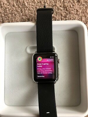 Apple Watch 42mm Stainless Steel Case With Leather Band 1st Generation