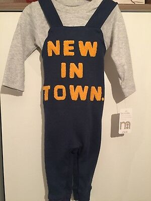 New in town bodysuit and dungaree set 3-6m