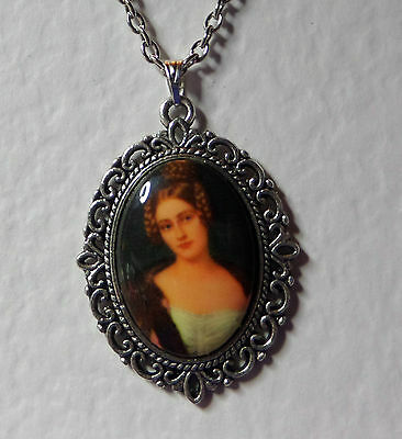 "1.5"" decal CAMEO LADY AUBURN HAIR VICTORIAN STYLE DARK SILVER PLATED PENDANT"