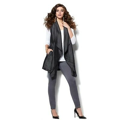 IMAN Runway Chic Luxurious Lyocell Vest Non-stretch woven BLACK L NEW 555-396