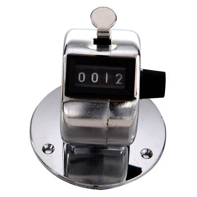 Round Base 4 Digit Manual Hand Tally Mechanical Palm Click Counter Y3M8