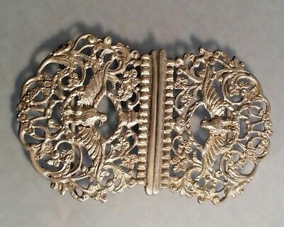 1897 Victorian ladies Solid silver belt buckle with eagle decoration