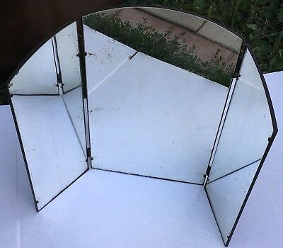 Vintage Vanity tri fold rounded top Mirror framed metal silver 3 panel freestand
