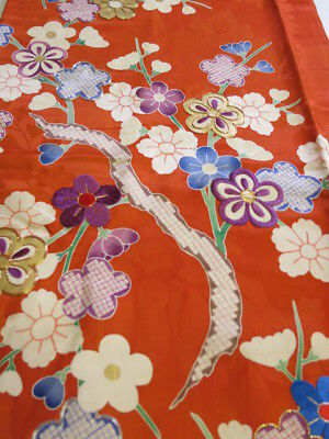 2Z05z80 Japanese Kimono Silk  FABRIC Dark orange Plum tree 66.1""