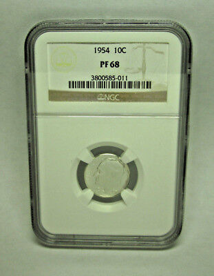 US 1954  10¢ Silver Proof ROOSEVELT Dime NGC PF 68   Exceptional Eye Appeal!