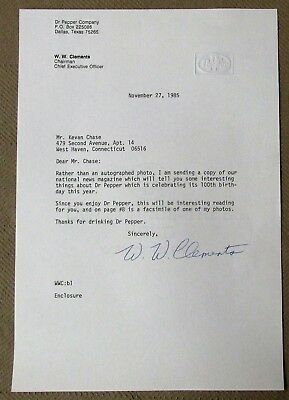 W.W. CLEMENTS {1914-2002} CEO DR. PEPPER Signed 1985 Letter