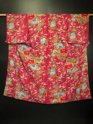 0713S10z700 Antique Japanese Kimono Silk KOMON Dark pink-red Flowers