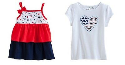 Two Patriotic Tops ~ Shiny Heart Flag Shirt  & Tiered Ruffles Tank Top ~ 4T ~NWT