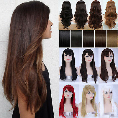 Real Cheap Full Wig Women Ladies Glueless Long Curly Wave Straight Synthetic Hg