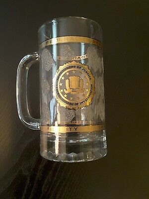 Vintage 1999 FBI DOJ Glass Beer Mug With Fingerprints