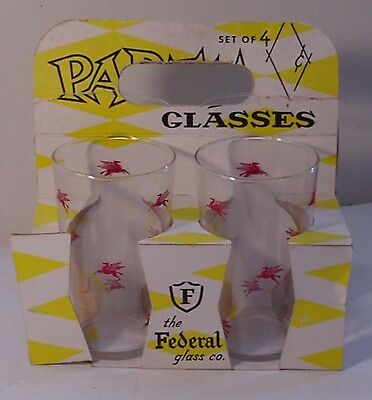 Mobil Oil Co. Pegasus Horse Logo Advertising Federal Party Glasses In Holder