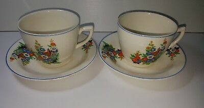 Clarice cliff ceramic cup and saucer set of 2
