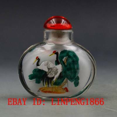 Antique Chinese Glass Hand-painted Crane Snuff Bottles L44