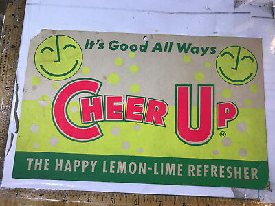 Cheer UP Soda Sign Lemon-Lime Refresher Nice graphics, shows wear 1940s